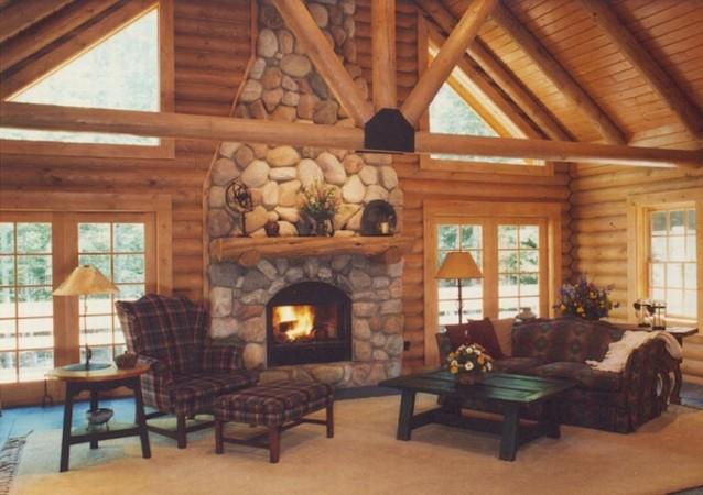 Jim barna log homes fireplace for Log home fireplaces