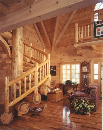 Jim Barna Log Homes Custom Stairs