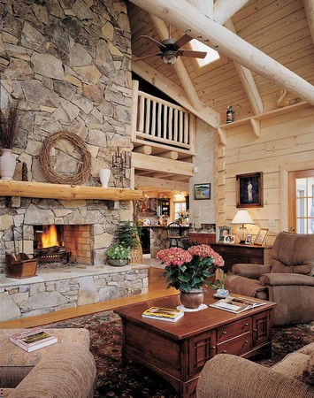 Living Room on Jim Barna Log Home  Living Room